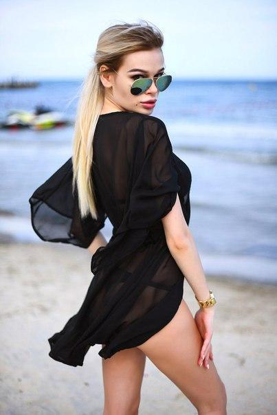 Шифоновая пляжная туника черная