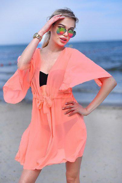 Шифоновая пляжная туника персик