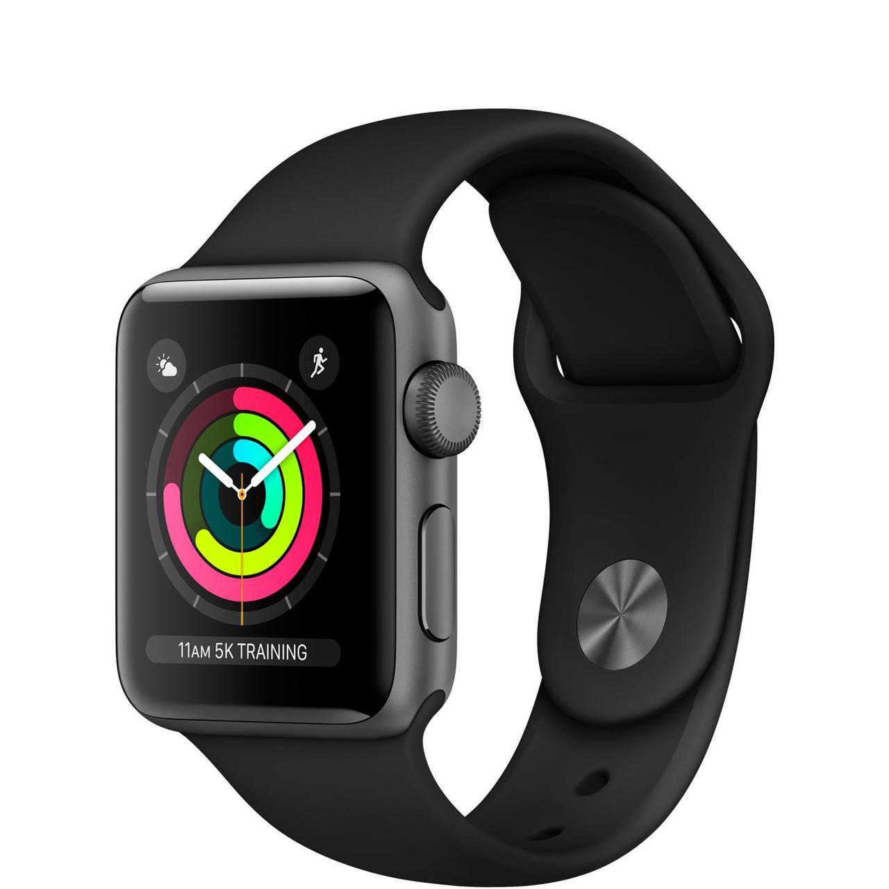 Apple Watch Series 3 GPS 38 мм Grey Aluminium Case with Black Band (MQKV2)