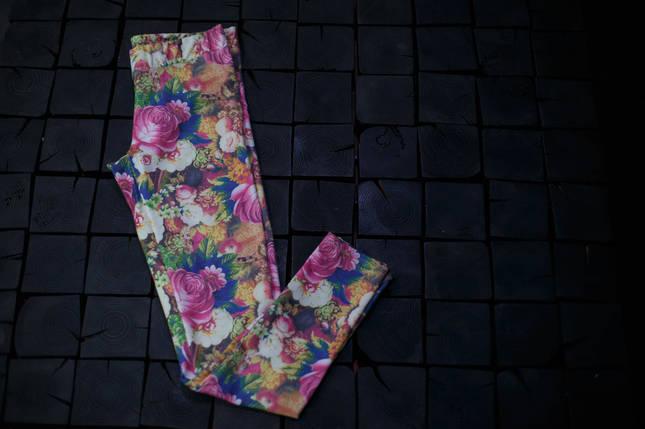 Женские лосины Adidas.Цветы/три полоски , фото 2