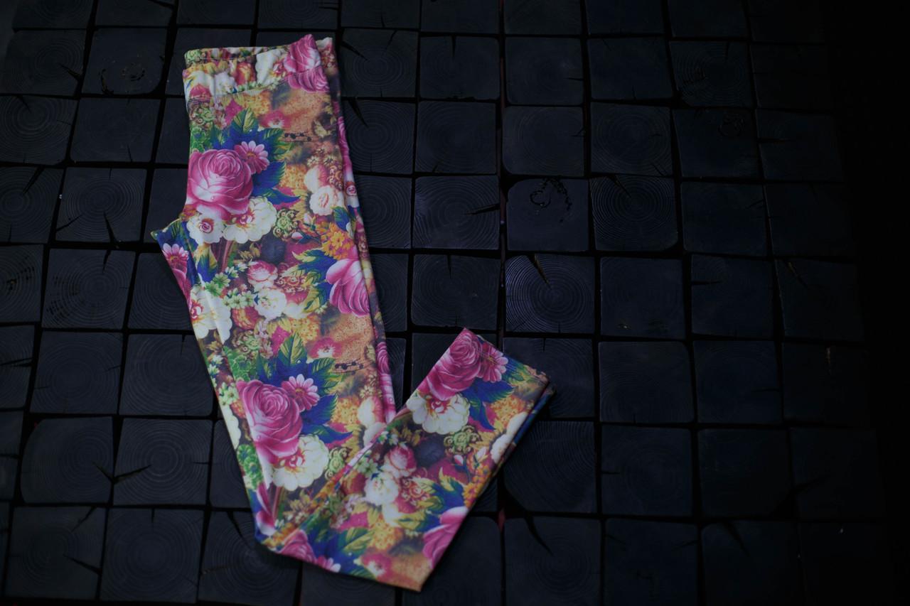 Женские лосины Adidas.Цветы/три полоски