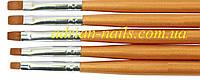 Набор кистей для геля 5шт - деревянная ручка