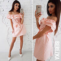 Свободное летнее платье с воланом, розовое