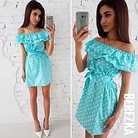 Свободное летнее платье с воланом, голубое