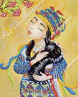 """Схема на ткани для вышивки бисером (Катя Дудник) W-470 """"Две украинских кошки"""""""