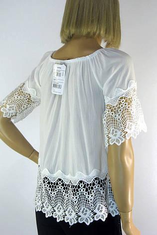Біла блузка з коротким рукавом і мереживом , фото 2