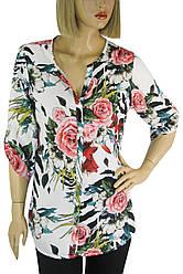 Блуза  літня з яскравим квітковим принтом