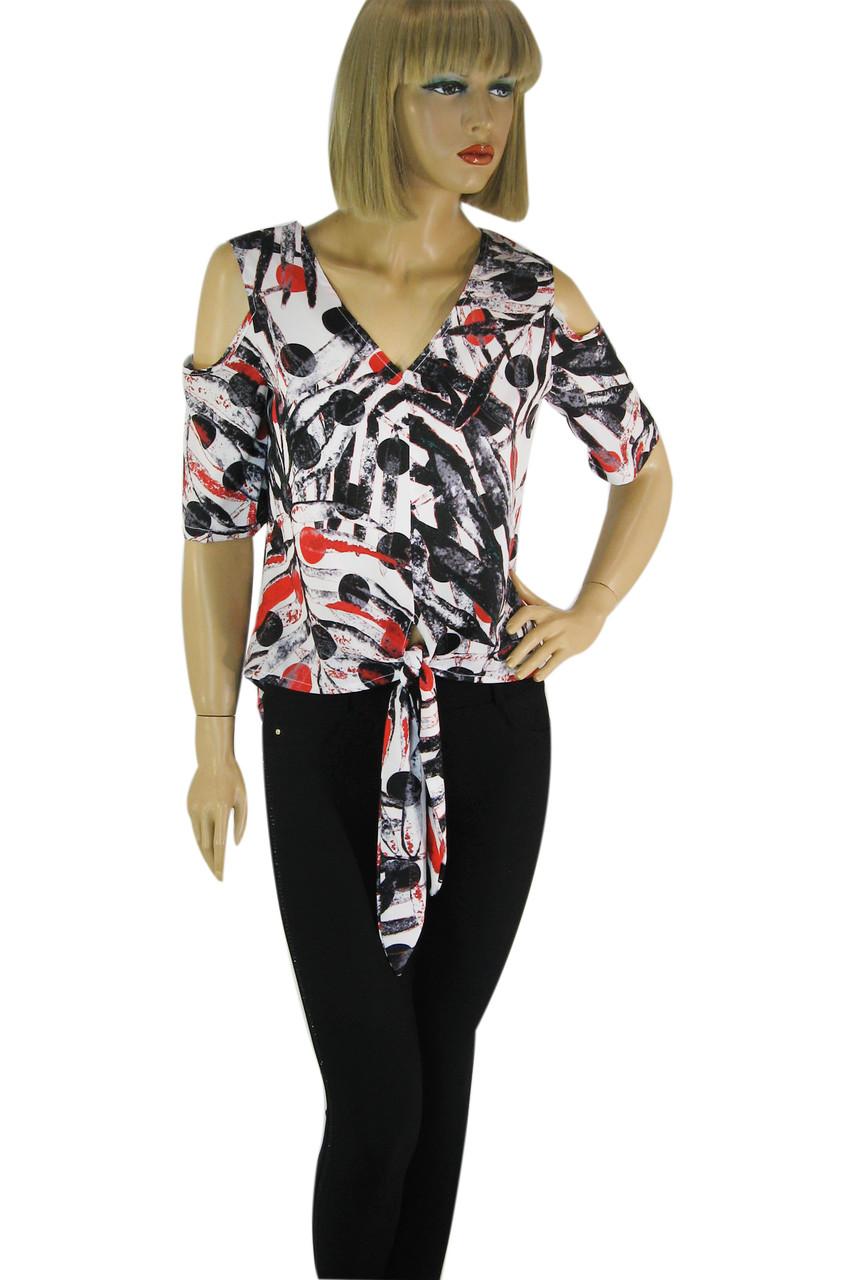 Блуза з відкритими плечами і яскравим квітковим принтом  Stefano