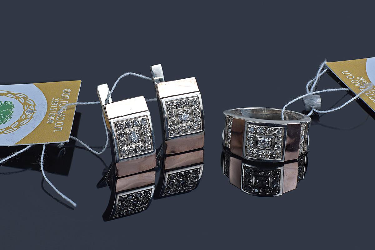 Серебряный набор с золотом Сенатор - 17 р кольца