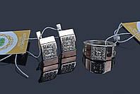 Серебряный набор с золотом Сенатор - 17 р кольца, фото 1