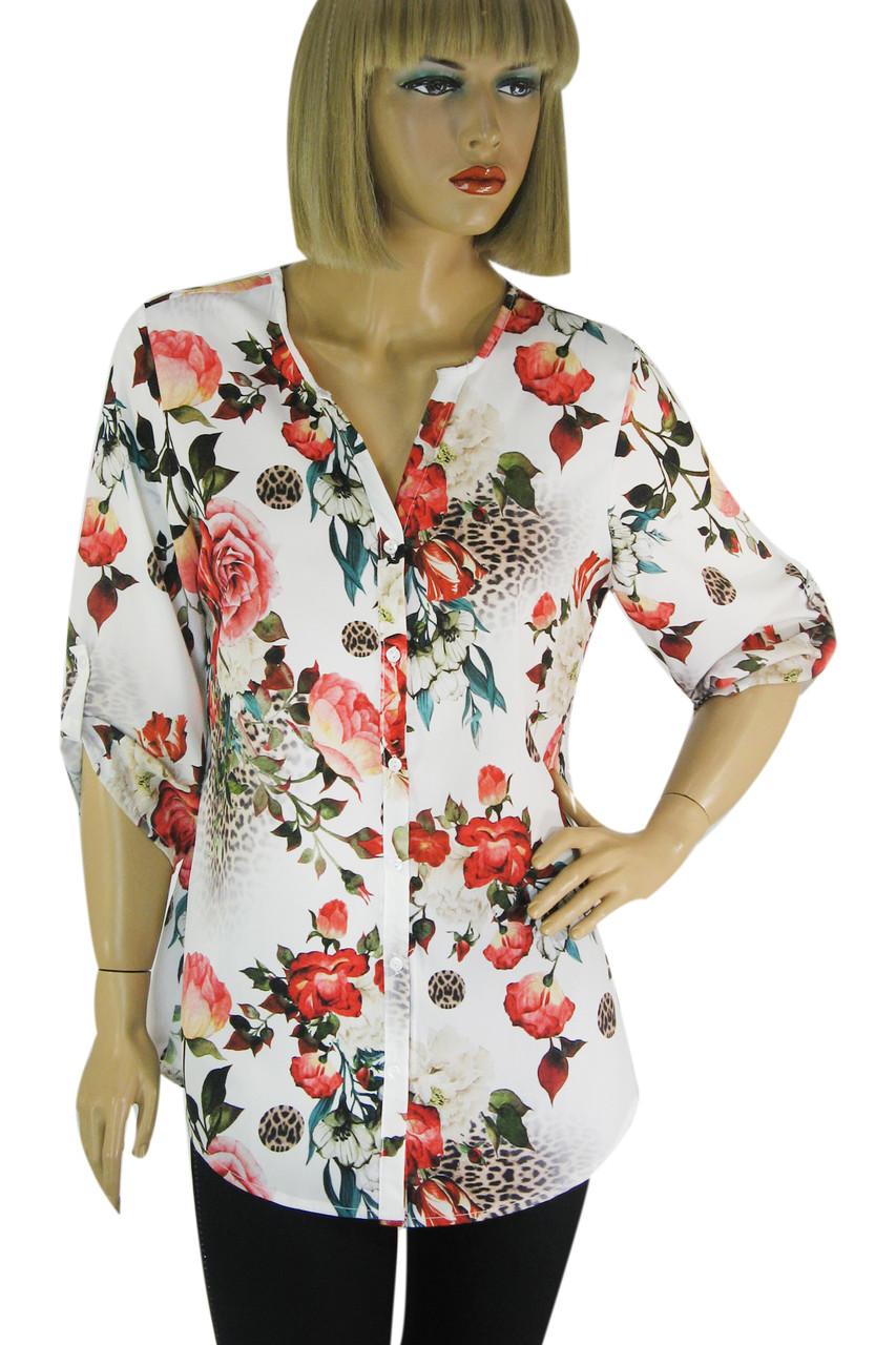 Блузка з яскравим квітковим принтом  Stefano