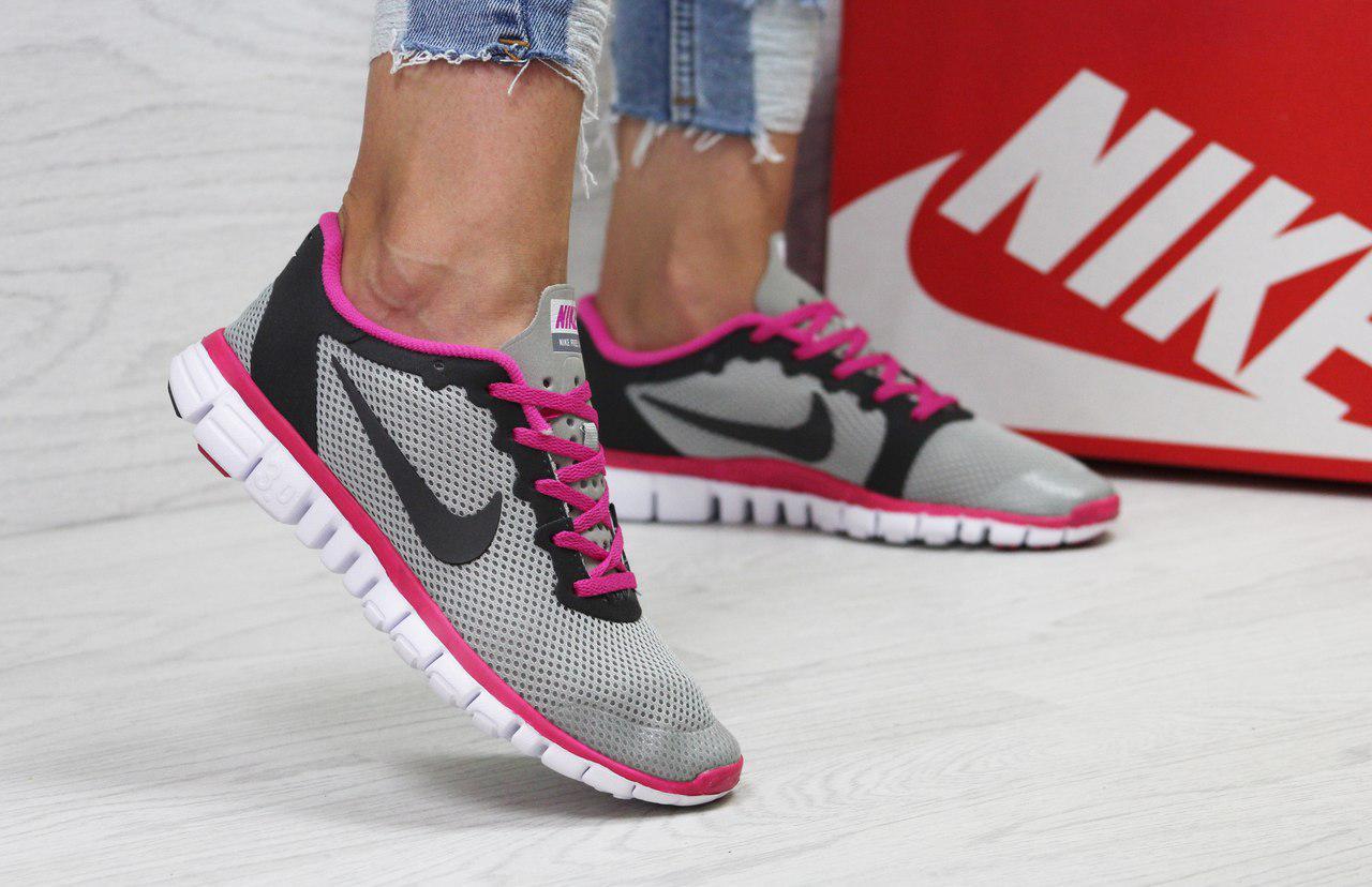 Женские кроссовки летние Nike Free Run 3.0,серые с розовым 36р