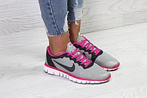 Женские кроссовки летние Nike Free Run 3.0,серые с розовым 36р, фото 3