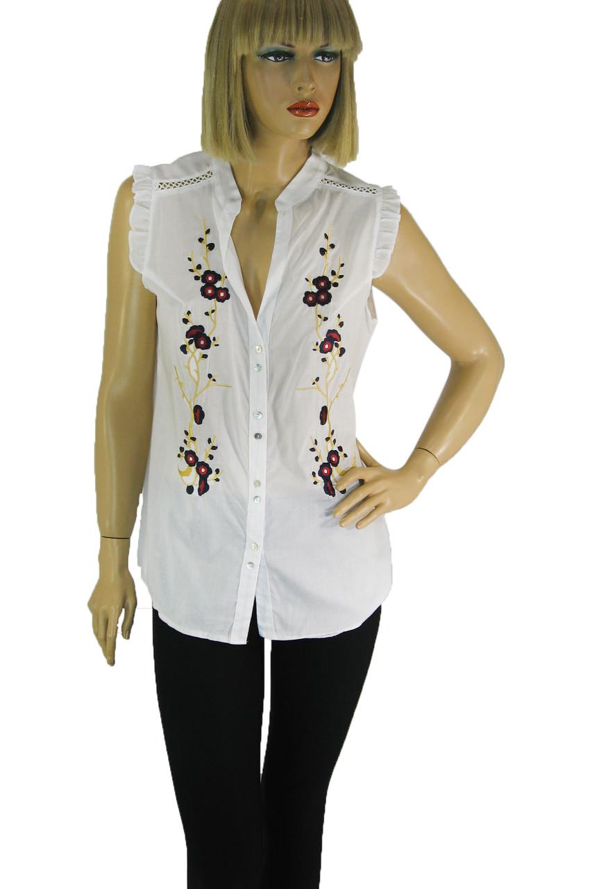 Блузка літня без рукавів з вишивкою 100% бавовна