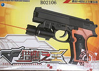Пистолет, батар., лазер, пульки в коробке 17*13,5см (180шт/2)