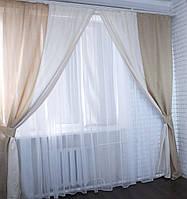 """Комплект готовых штор """"Лен"""",  2 шторы размером по 1.35м*2,85м. Код е585 У"""