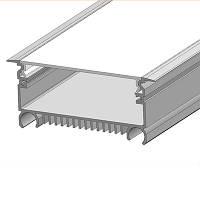 LED профиль для светодиодной ленты врезной LSV-70 алюминиевый с матовой крышкой (2м, 3м, 4м, 6м)