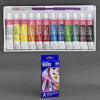 Краски акриловые, 12шт в упаковке, 12 цветов, 6 мл, в кор.21*9*2см(96шт)