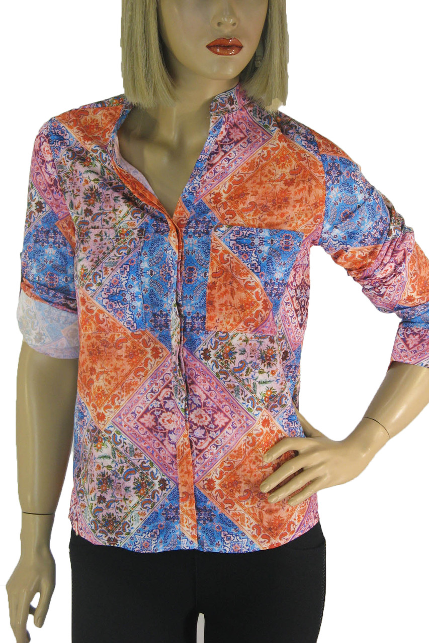 Жіноча літня сорочка з яскравим квітковим принтом  Nanide