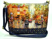Женская стеганная сумочка Город пастель 3, фото 1