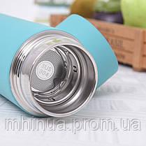 Термос 450мл 6 Cup Six Cup с ситечком голубой, фото 3