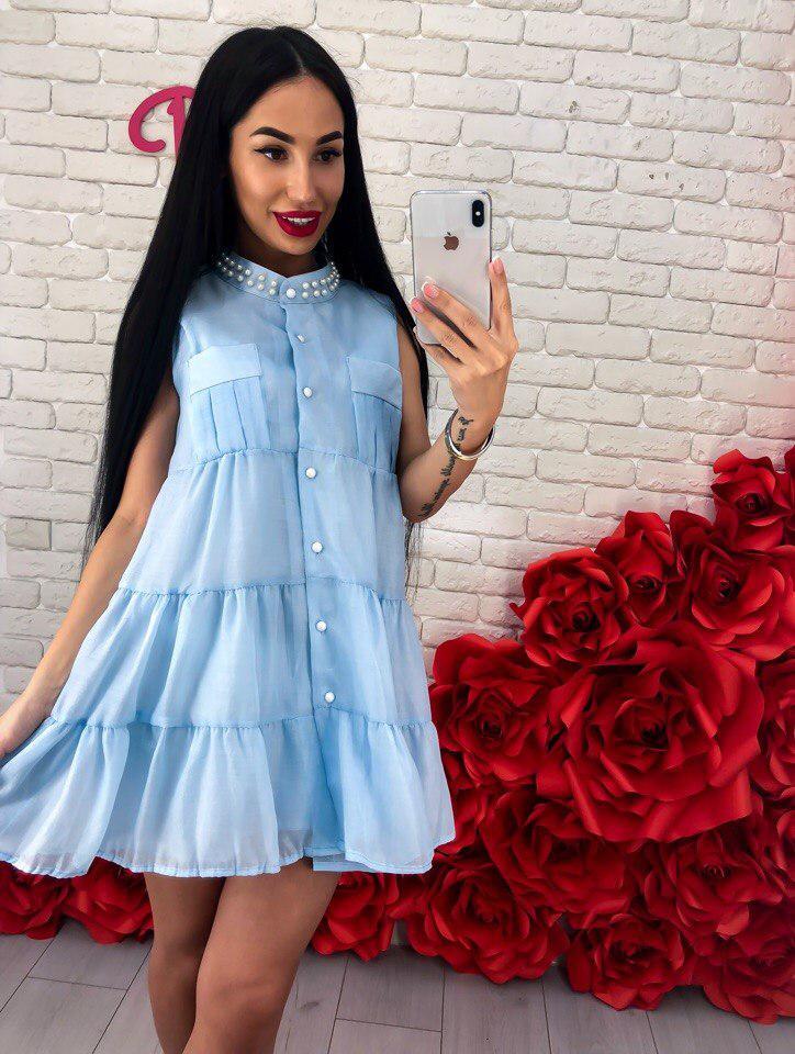 Платье . Цвет голубой, розовый, черный. (759)