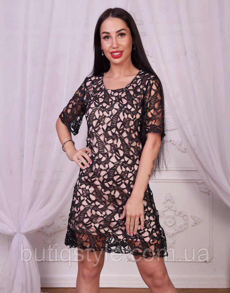 a6ef4777486 Красивое вечернее платье кружево короткий рукав черное