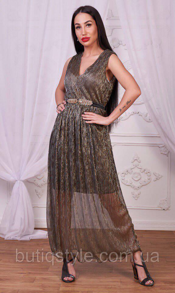 Стильне жіноче плаття максі сітка гафре хамеліон бежевий, хакі