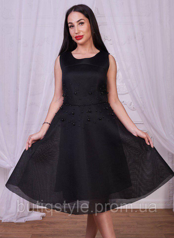 71c3a5f85a8 Элегантное женское платье фатин с жемчугом розовое