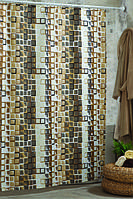 """Шторка для ванной и душа текстильная 180 x 200 см """"Мозаика"""""""