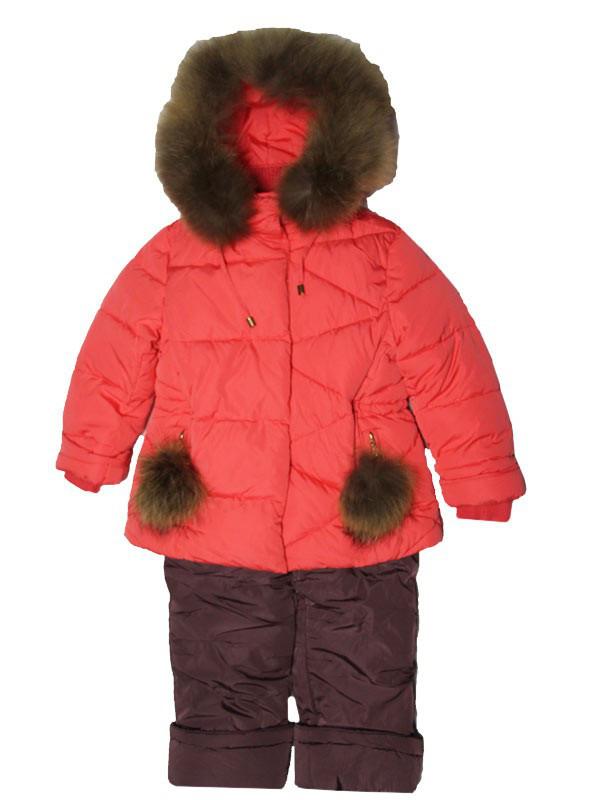 Детский зимний комбинезон для девочки  6-7 лет New Soon коралловый
