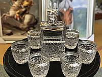 Набор под виски хрустальный с серебром