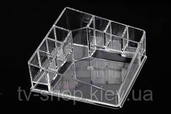Органайзер для косметики акриловый квадратный с 8 отделениями