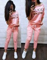 Летний женский спортивный костюм на лето ткань трикотажс модным лого Л-ка розовый пудренный пудра