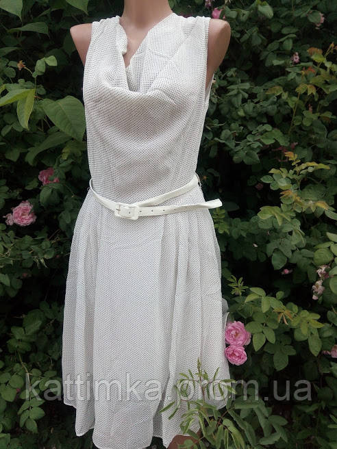 634931fcf72 Женское платье белое в черный горошек с пояском - купить по лучшей ...