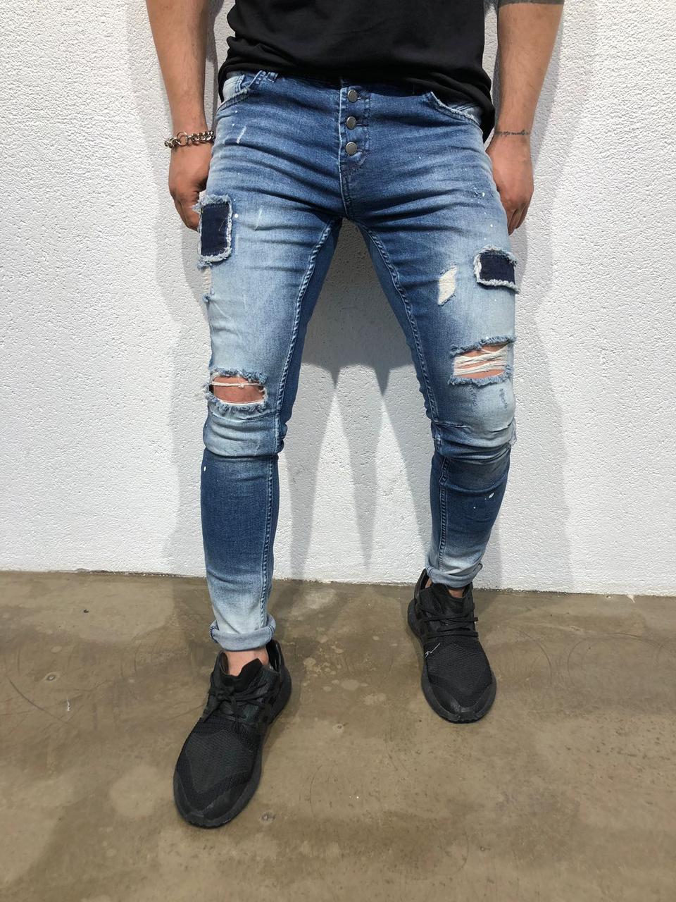 59956d6e0b8 Мужские джинсы рваные Hard-Rock Black Island 1874b синие
