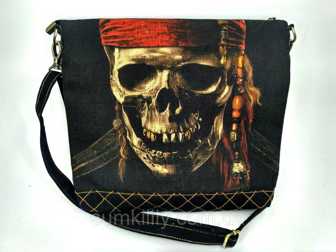Джинсовая стеганная сумочка Джек Воробей