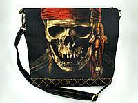 Джинсовая стеганная сумочка Джек Воробей, фото 1