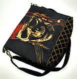 Джинсовая стеганная сумочка Джек Воробей, фото 2
