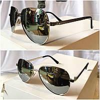 Женские солнечные зеркальные очки  GUCCI с металлической  оправой