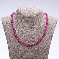 """Бусы из натурального камня """"Турмалин"""" (им) темно розовый граненный рондель d-6х4мм L-50см"""