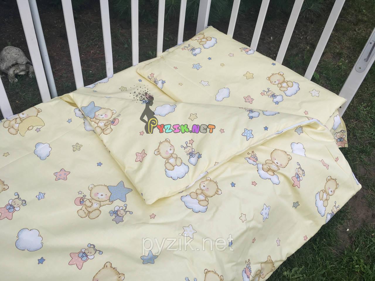 Постельный набор в детскую кроватку (3 предмета) Мишки На Облаке Бежевый