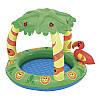 Детский надувной бассейн Intex 52179 Джунгли, надувное дно, с надувной зацитой от солнца, 99-91-71см