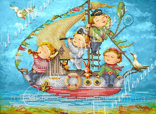 """Схема на ткани для вышивки бисером (Катя Дудник) W-506 """"Чайка"""""""