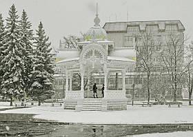"Фотография на холсте ""Сумы.Падающий на Альтанку снег."" 50х70см"