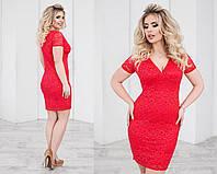 Платье летнее гипюровое, подклада трикотаж 48-54 красный, 48