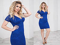 Платье летнее гипюровое, подклада трикотаж 48-54 синий, 54