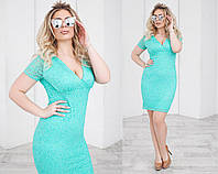 Платье летнее гипюровое, подклада трикотаж 48-54 зеленый, 52