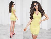 Платье летнее гипюровое, подклада трикотаж 42-46 желтый, 46