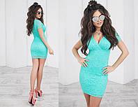 Платье летнее гипюровое, подклада трикотаж 42-46 зеленый, 42